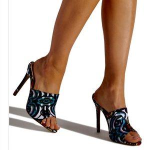 Shoe Dazzle Shoes - Multicolored Mule Pumps